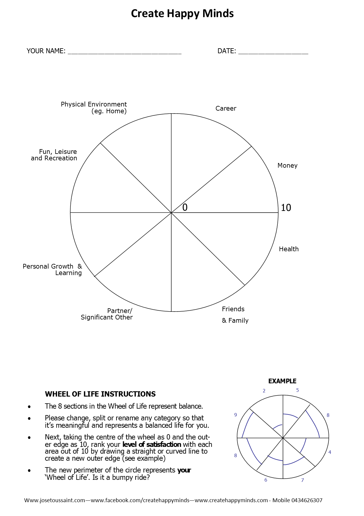 Wheel of life worksheet v2 create happy minds
